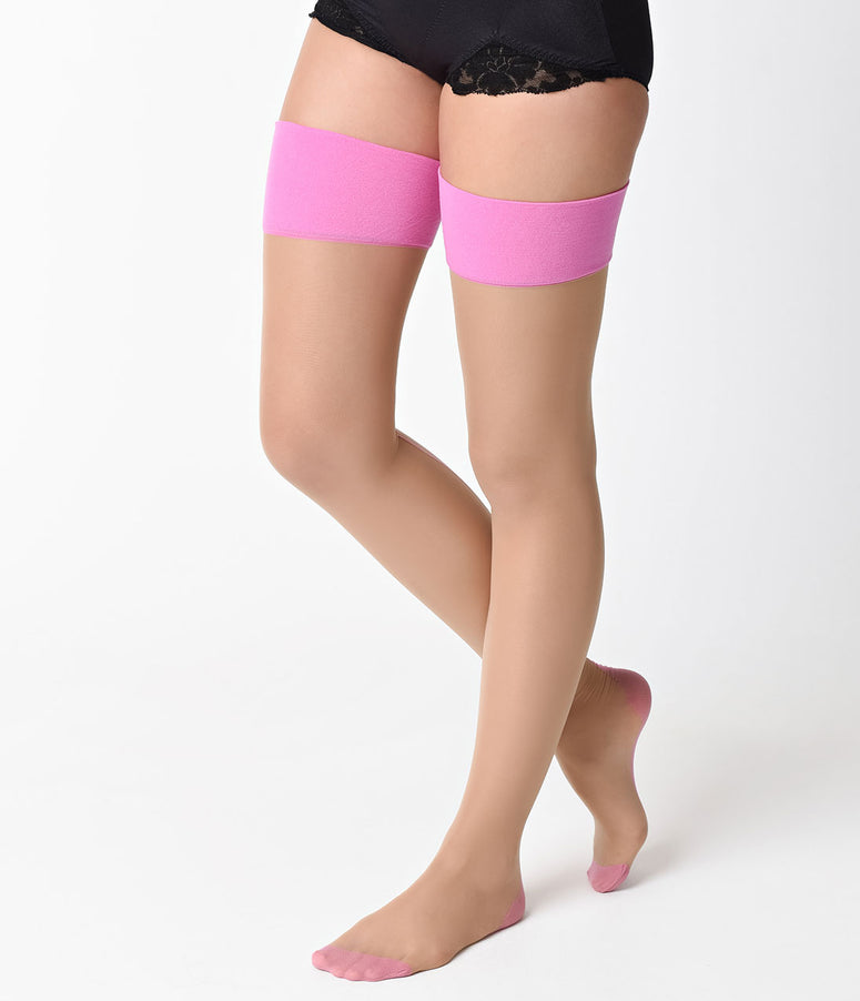d6de858ff What Katie Did Champagne   Pink Glamour Contrast Seamed Stockings