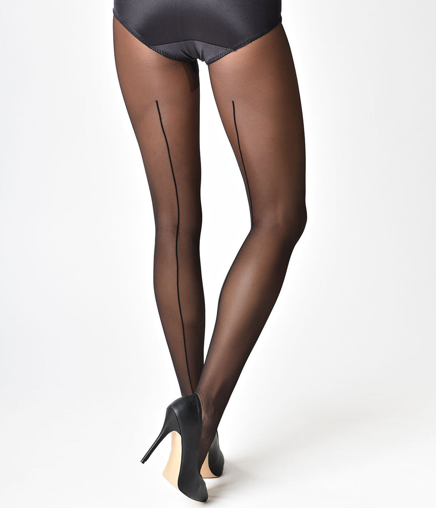 Black seamed stockings and pantyhose