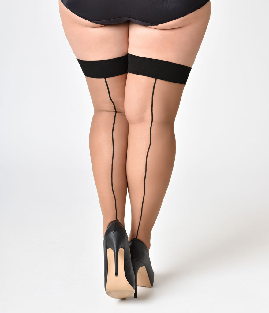70f370fa31e ... What Katie Did Vintage Style Nutmeg   Black Glamour Seamed Stockings ...