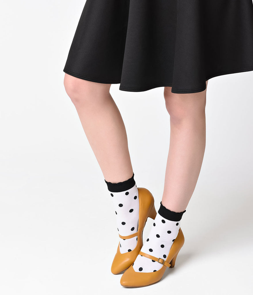 White & Black Spots & Dots Ruffle Ankle Socks