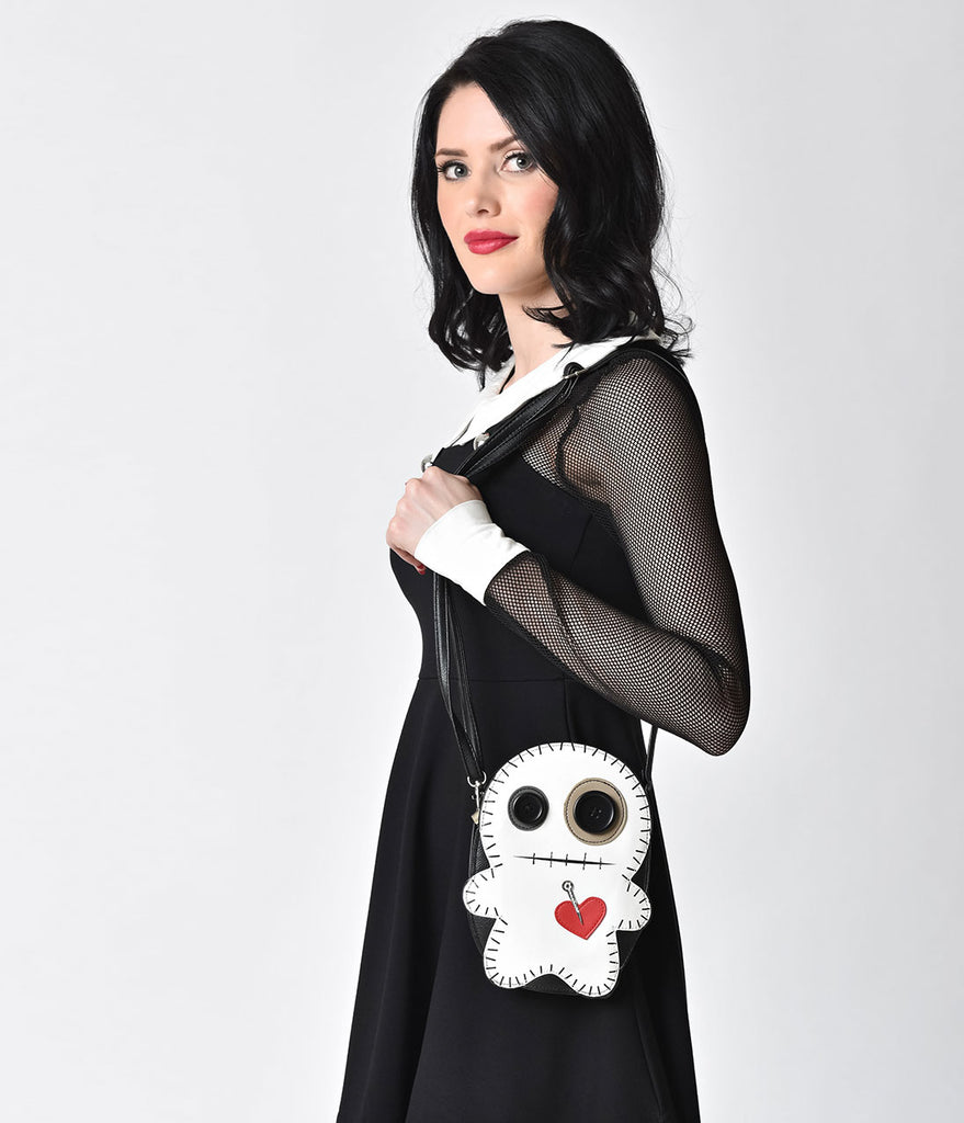 White & Black Vinyl Voodoo Doll Shoulder Handbag