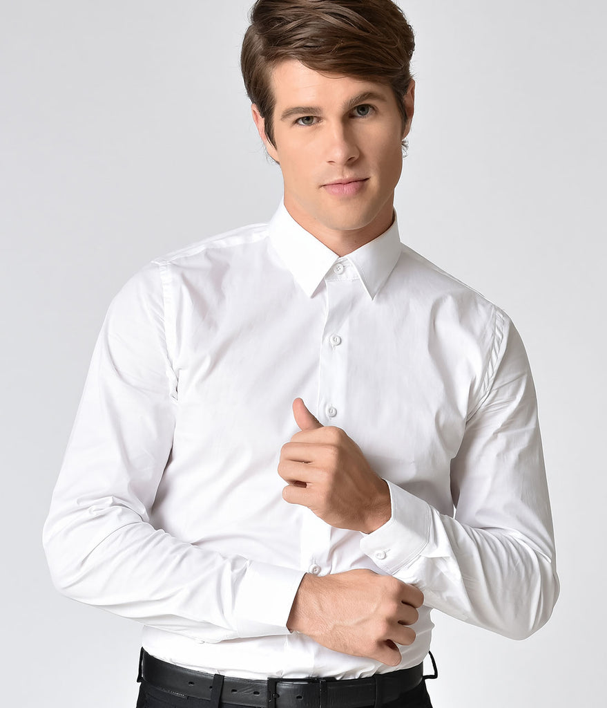 White Button Up Long Sleeve Mens Dress Shirt