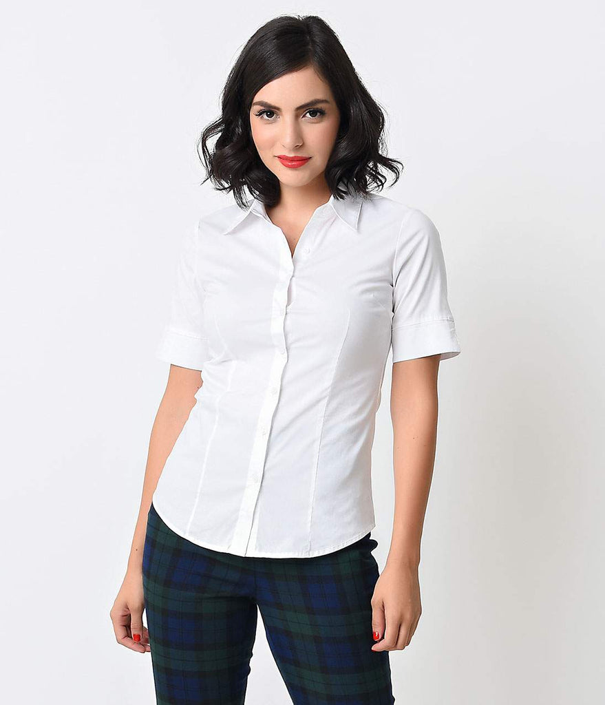 636bc11fd White Collared Short Sleeve Button Up Blouse – Unique Vintage