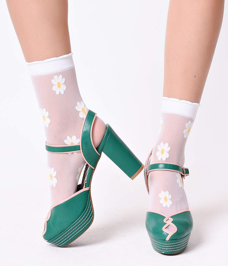 White Daisy Flocked Sheer Ruffle Ankle Socks