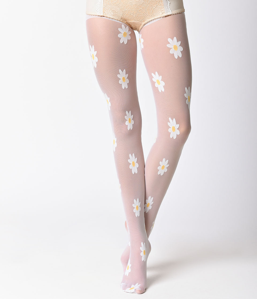 60s Costumes: Hippie, Go Go Dancer, Flower Child, Mod Style White Daisy Woven Sheer Pantyhose $12.00 AT vintagedancer.com