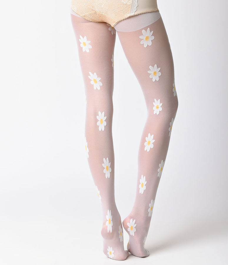 580f67fd4 White Daisy Woven Sheer Pantyhose. Quick View