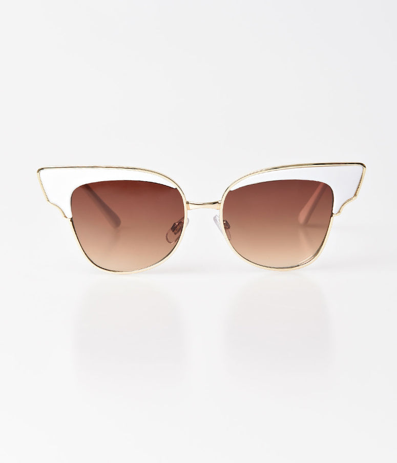 White & Gold Aviator Betty Sunglasses