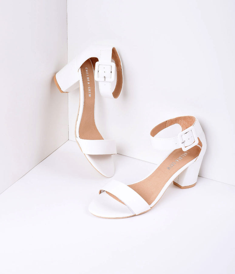 White Leatherette Sandal Buckle Strap Pumps