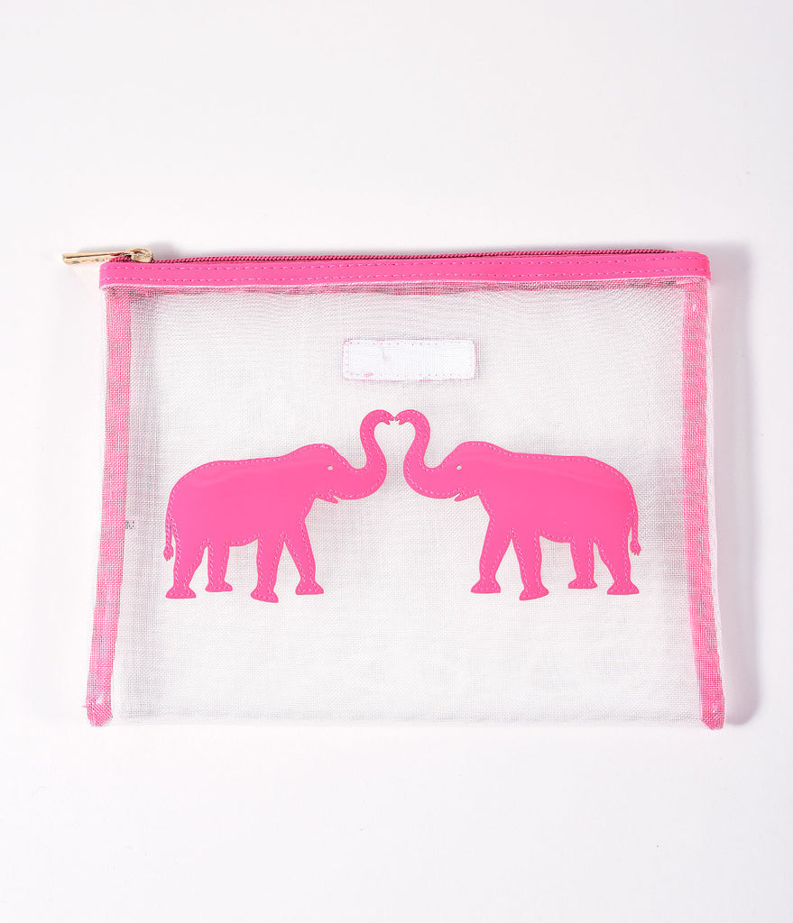White Mesh & Pink Elephants Zippered Pouch