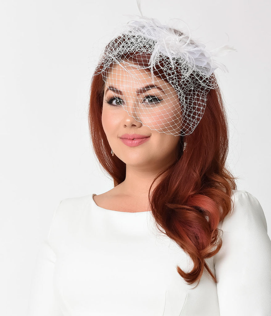 white net & feather bow hair clip bridal fascinator – unique vintage