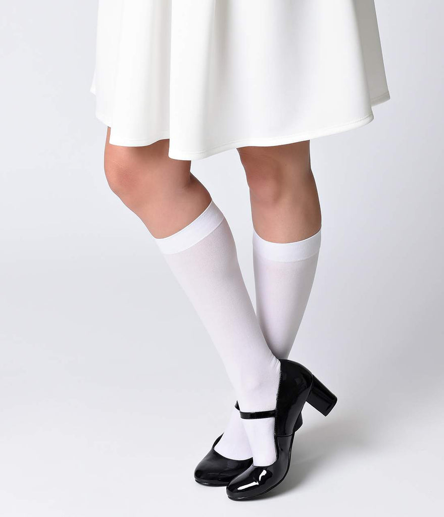 White Nylon Knee Highs
