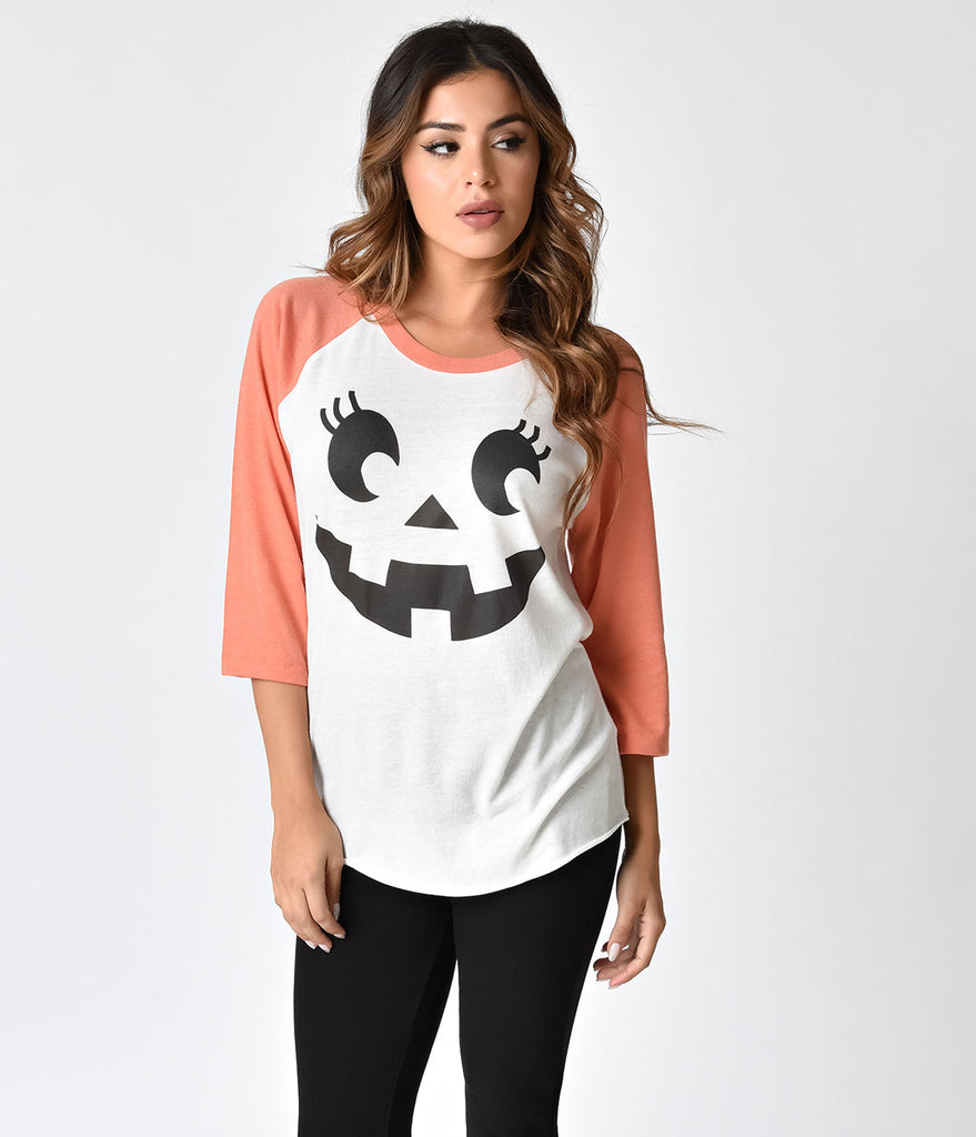 White & Orange Knit Jill O'Lantern Raglan Tee