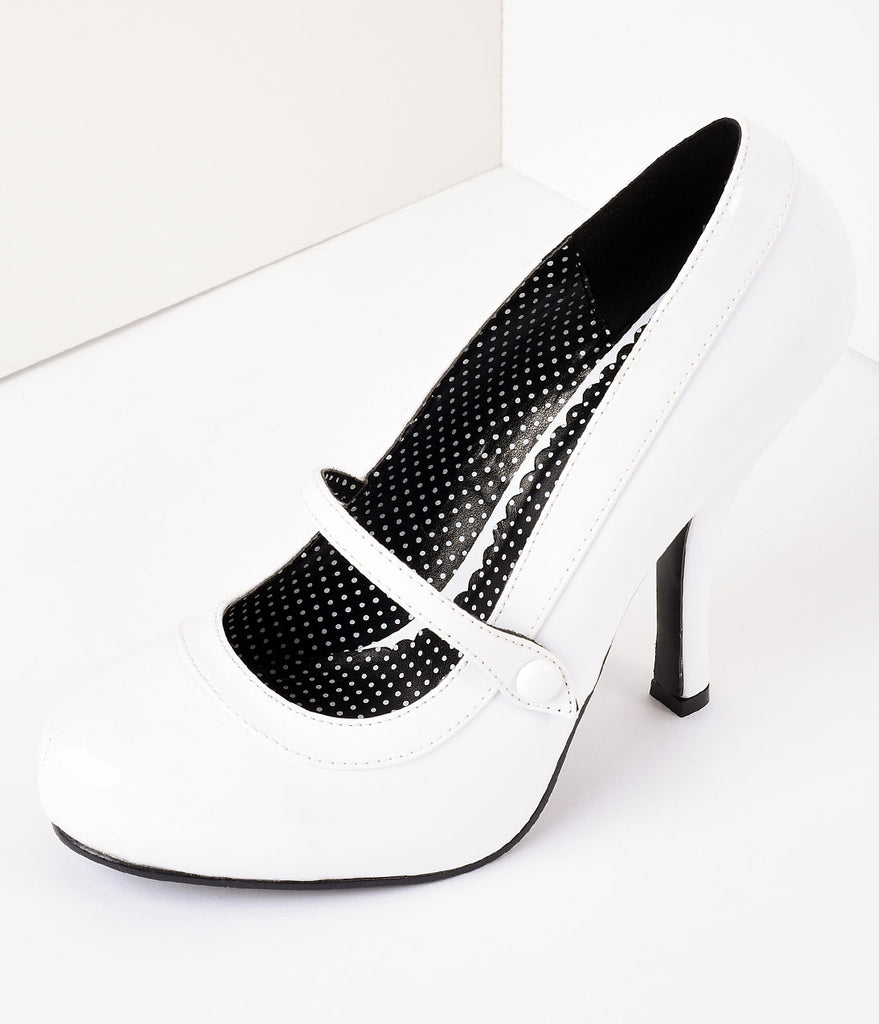 White Patent Leather Cutie Pie Pumps