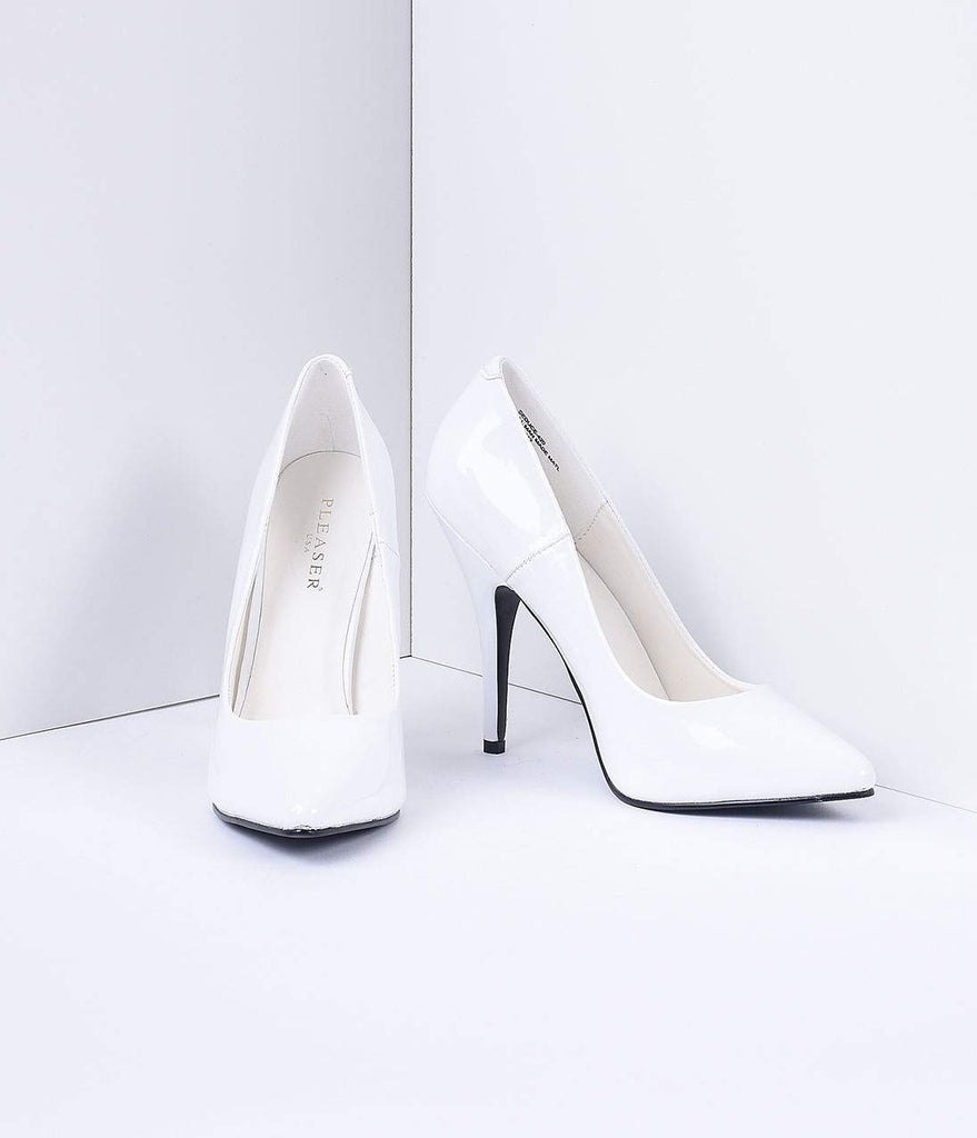 elegant and graceful huge sale wide selection of designs White Patent Leather Seduce Pumps