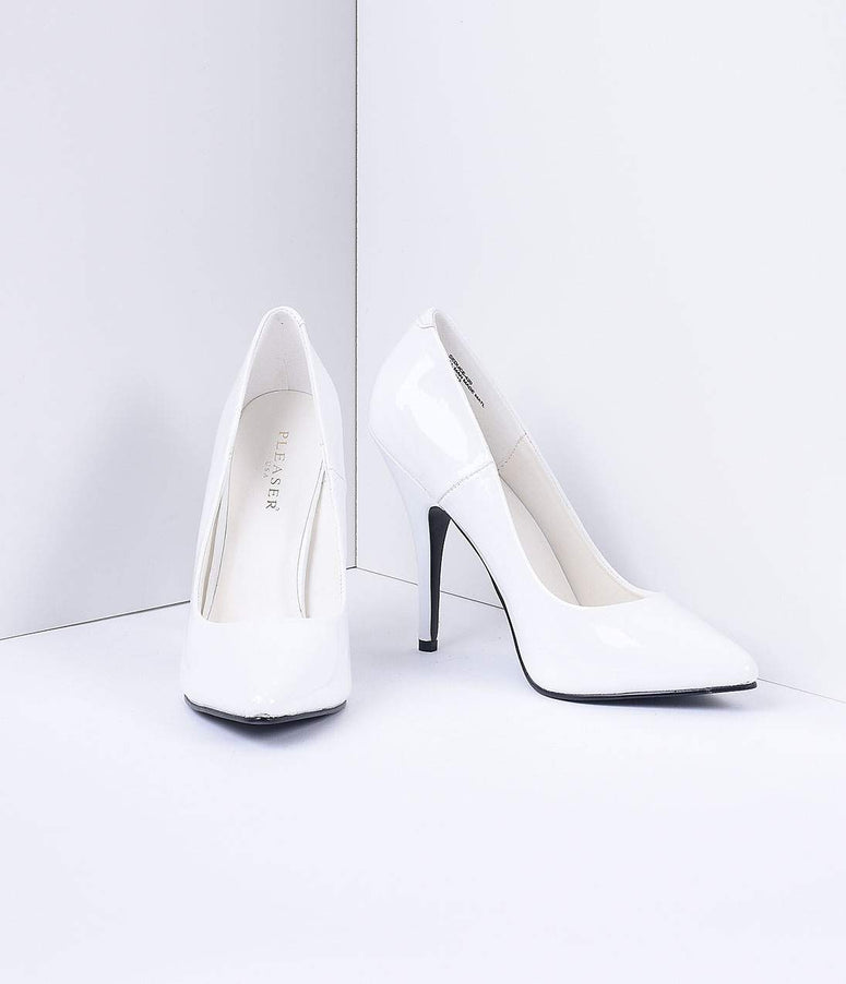 White Patent Leather Seduce Pumps