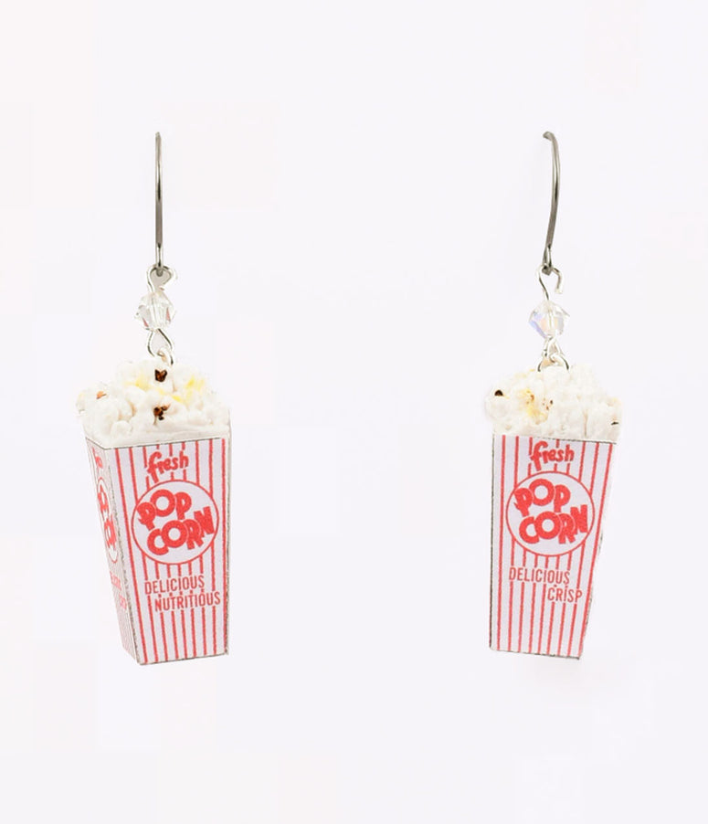 White Popcorn Box Dangle Earrings