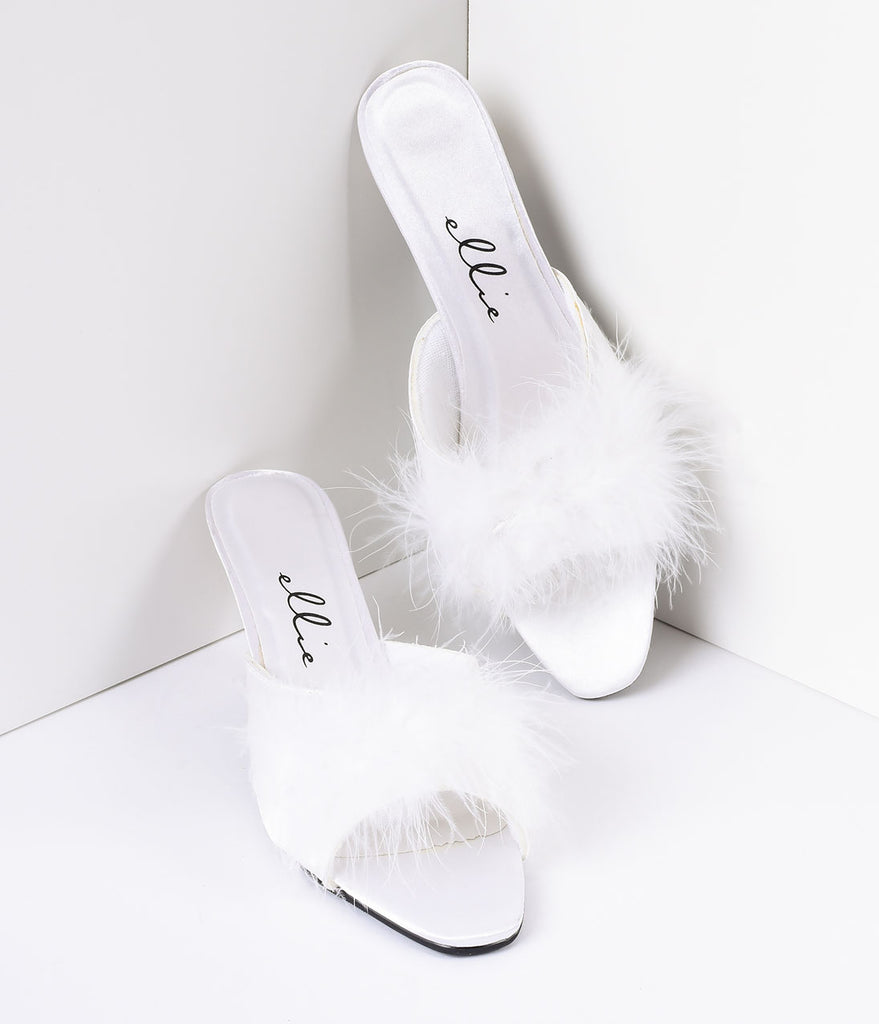 White Satin & Maribou Feather Phoebe Slip-On Heels