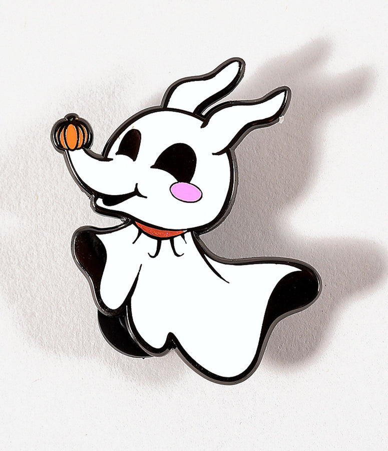 White Spooky Ghost Pup Enamel Pin