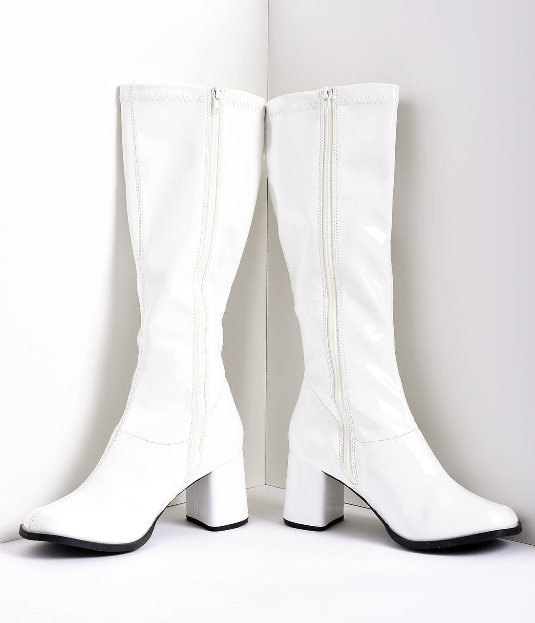 Vintage Heels, Retro Heels, Pumps, Shoes White Stretch Patent Knee High Go Go Boots $58.00 AT vintagedancer.com