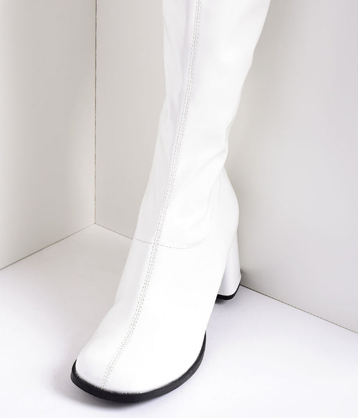 White Stretch Patent Knee High Go Go Boots Unique Vintage