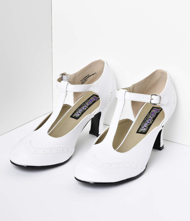 White T-Strap Mary Jane Kitten Heels