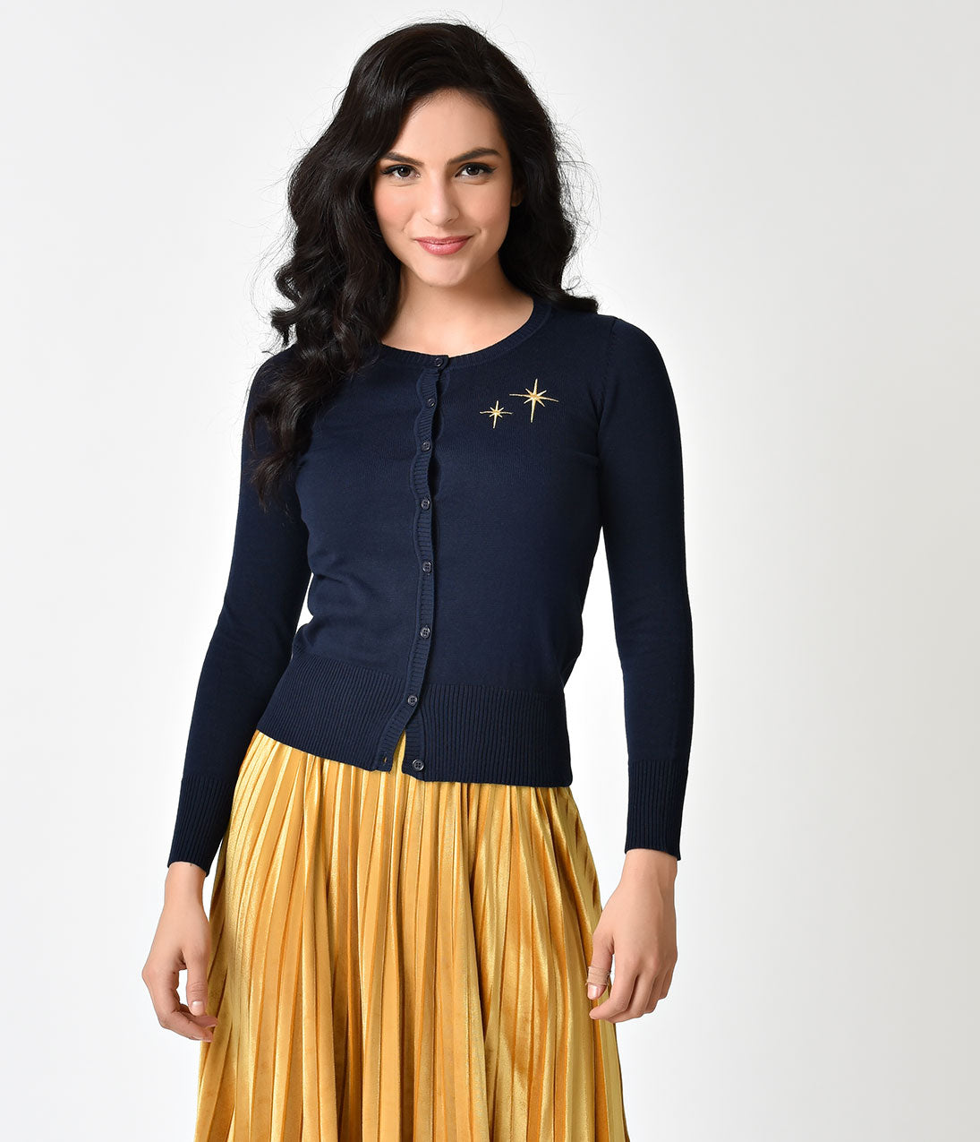 Vintage Sweaters: Cable Knit, Fair Isle Cardigans & Sweaters Whosits and Whatsits Navy Blue  Gold Embroidery Second Star Cardigan $38.00 AT vintagedancer.com