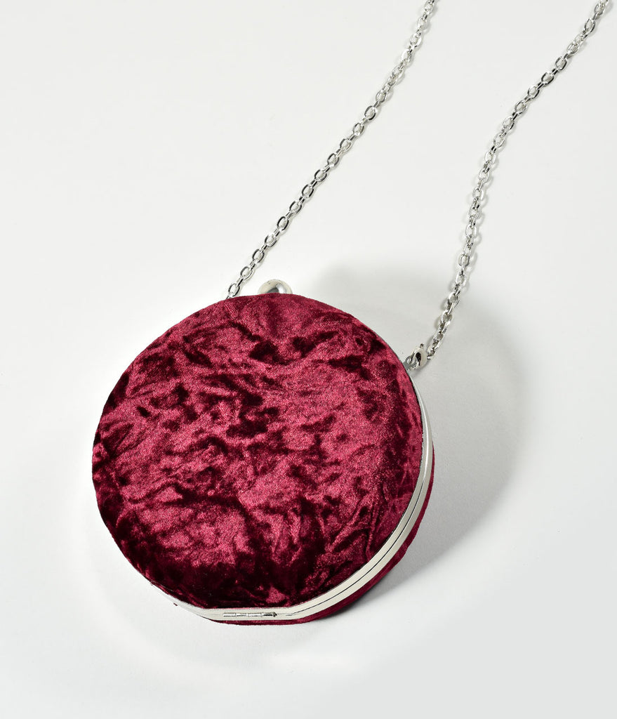 Wine Red Crushed Velvet Round Hard Clutch