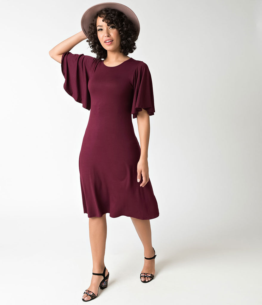 Wine Red Flutter Sleeve Stretch Knit Shift Dress