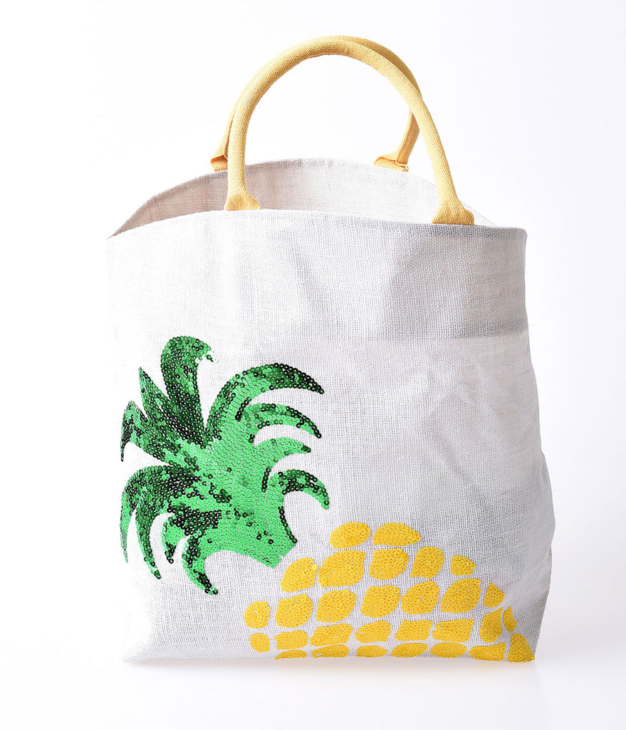 Yellow & Green Sequin Pineapple Jute Tote Bag