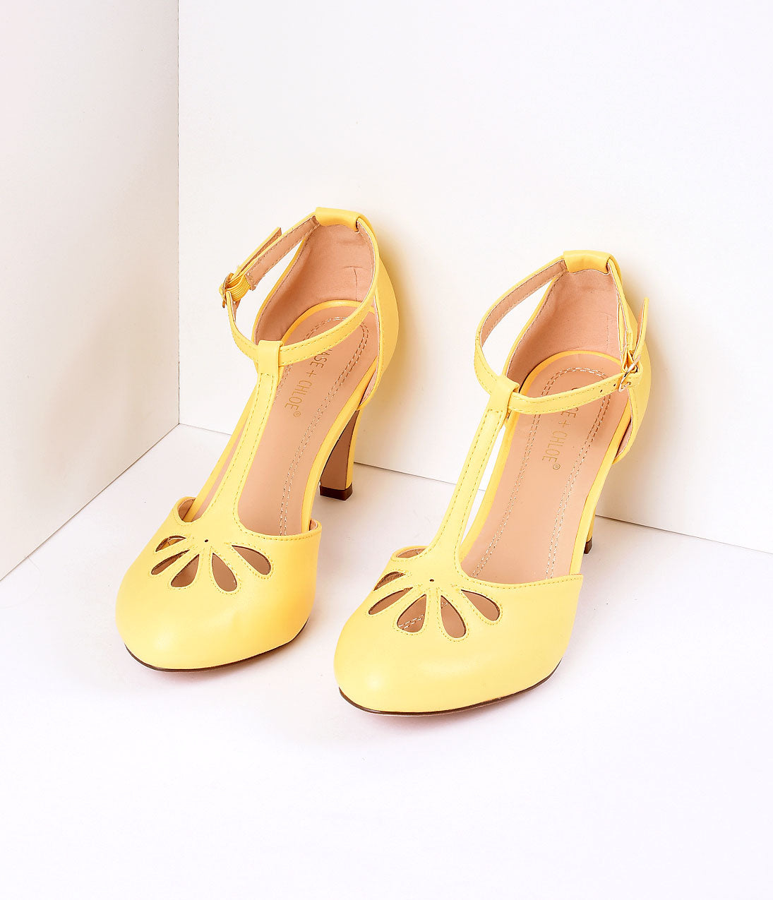1950s Style Shoes Yellow Pleather Cutout Kimmy T-Strap Heels $44.00 AT vintagedancer.com