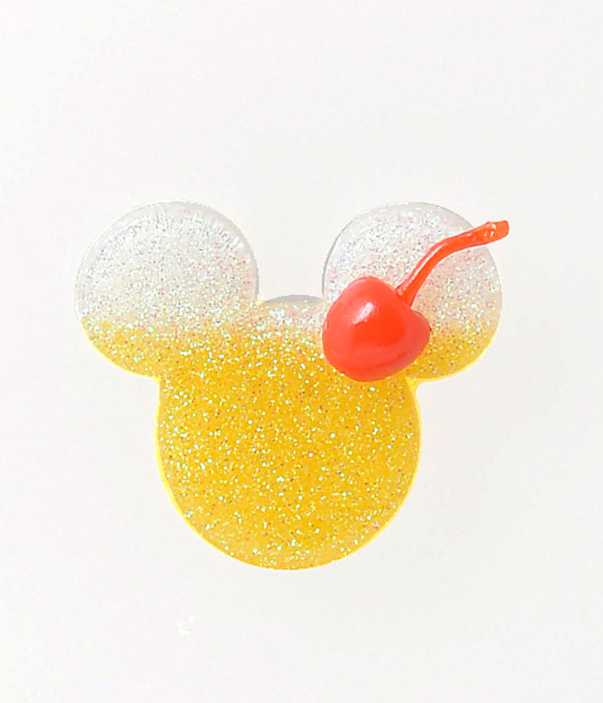 Yellow & White Glitter Pineapple Whip Mouse Ears Brooch