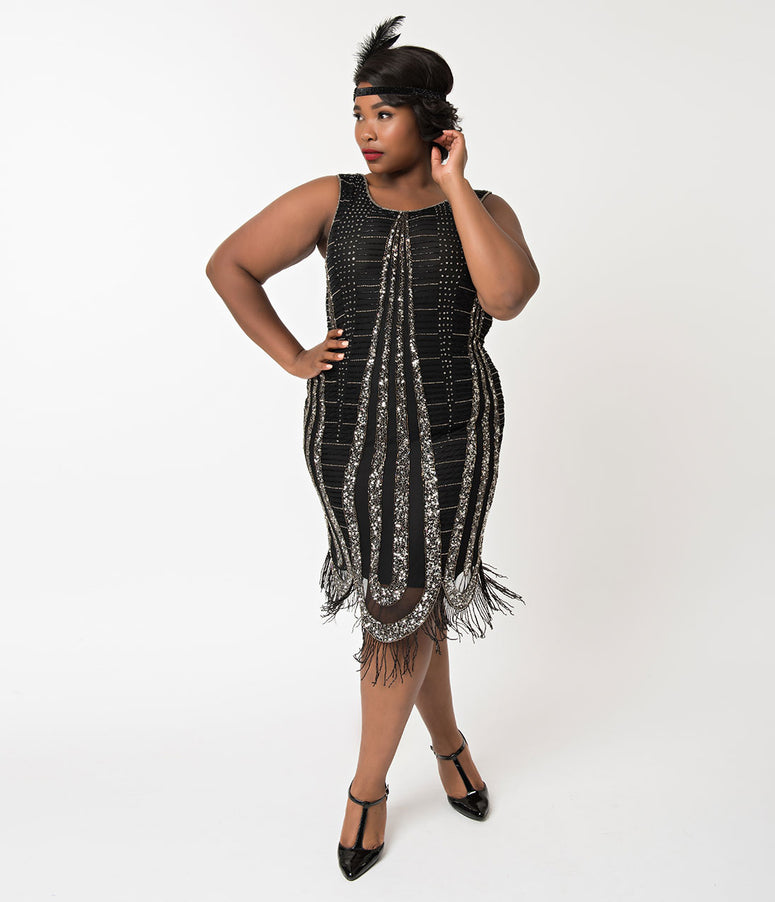 Unique Vintage Plus Size Black & Silver Beaded Fringe Romane Cocktail Dress