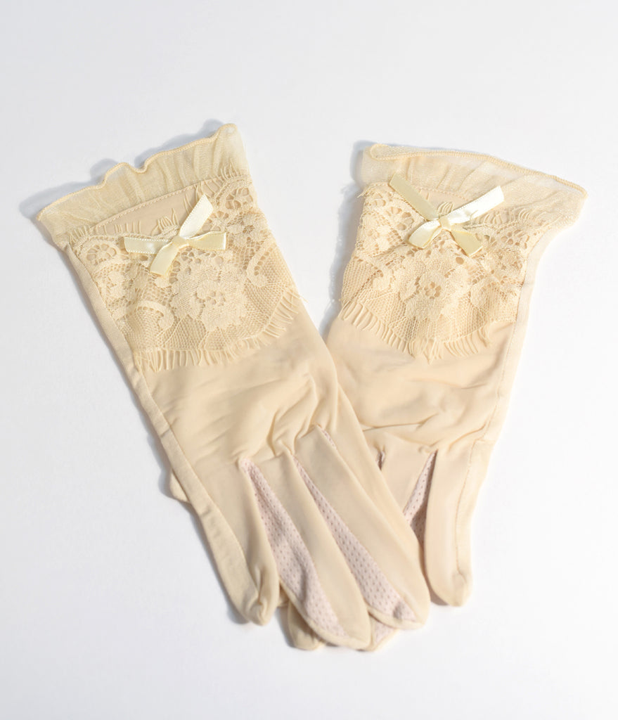 Beige Vintage Lace Sheer Wrist Gloves