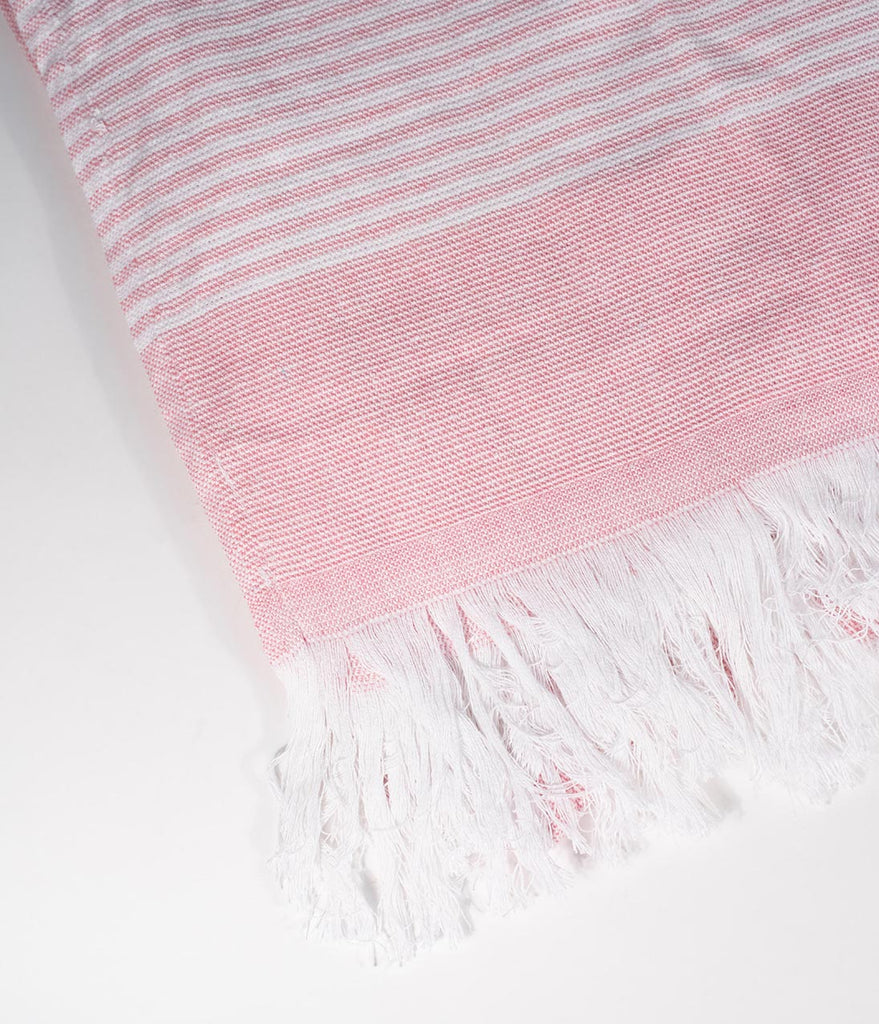 060a4b721 Light Pink & White Striped Fouta Beach Towel