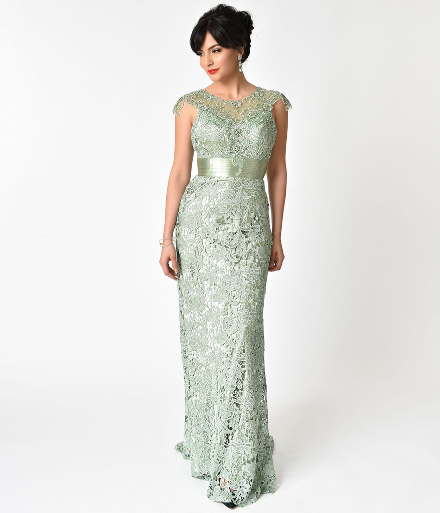 Sage Green Lace Satin Belted Embellished Prom Gown Unique Vintage