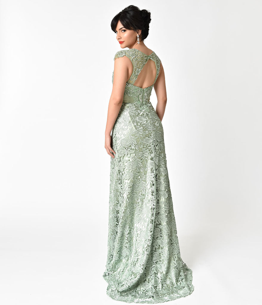8c10a701f3e26 Sage Green Lace   Satin Belted Embellished Prom Gown – Unique Vintage