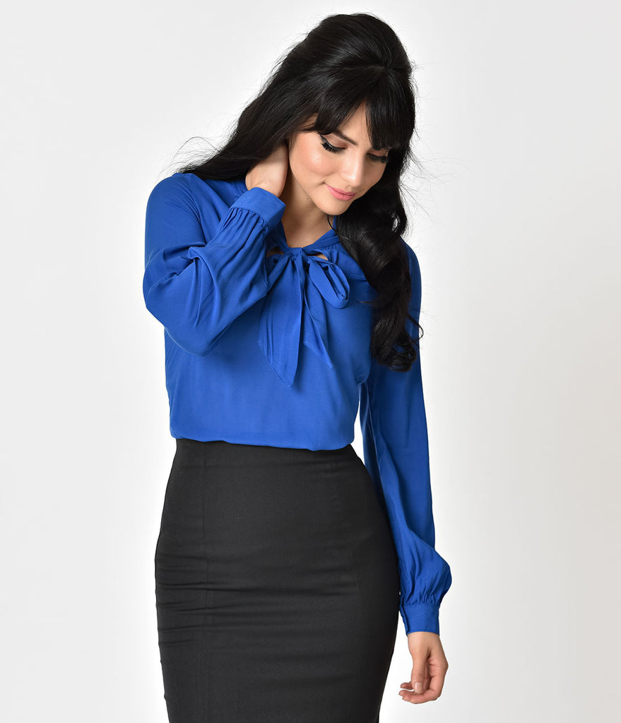Folter Retro Style Blue Long Sleeve Neck Bow Blouse