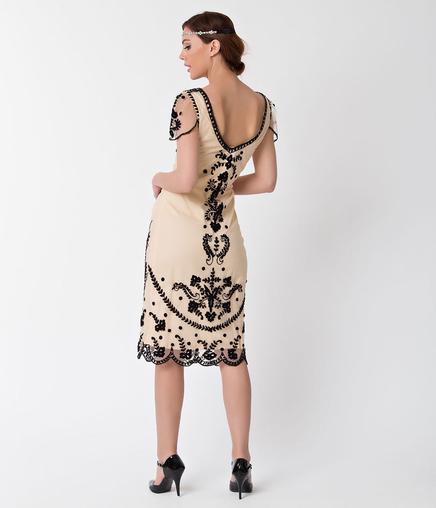 Vintage Style Ivory & Black Embroidered Florence Flapper Dress