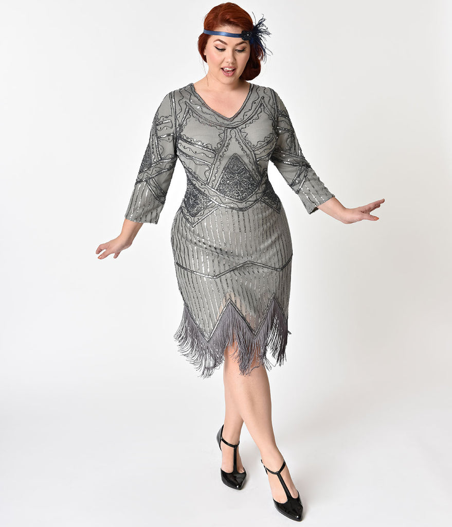 Unique Vintage Plus Size 1920s Grey Beaded Sequin Sleeved Noemie Fringe Flapper Dress