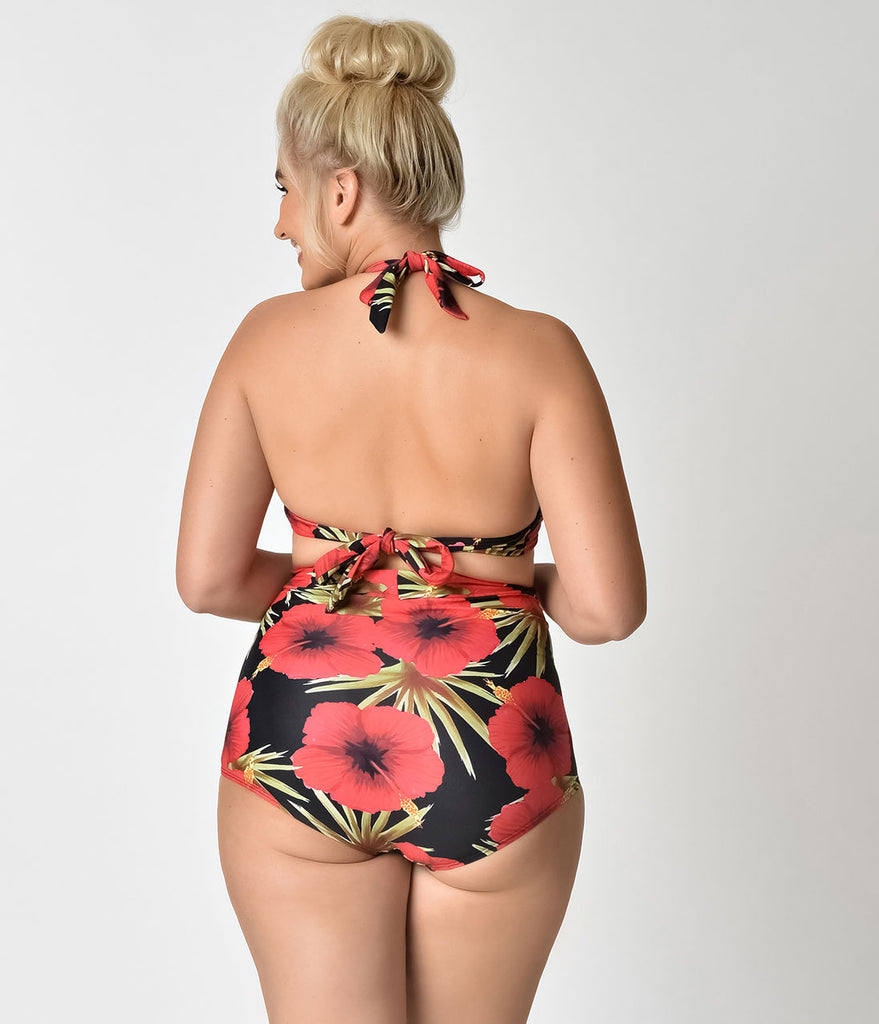 Unique Vintage Plus Size Black & Red Hibiscus Monroe Swim Top
