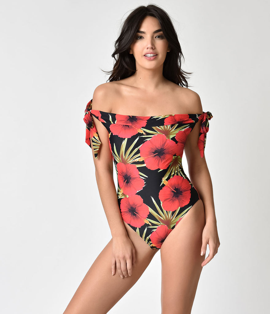 Unique Vintage Black & Red Hibiscus Floral Off Shoulder Hermosa Swimsuit