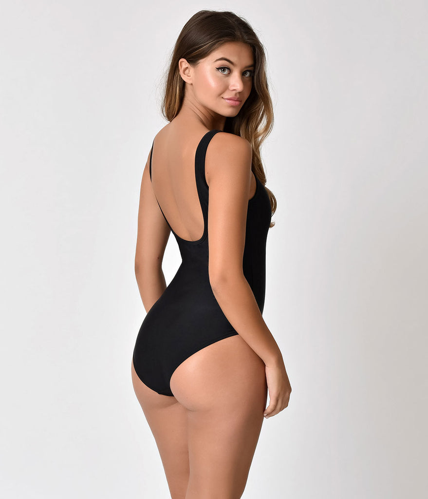 Unique Vintage Retro Style Mrs. Parker Black One Piece Swimsuit