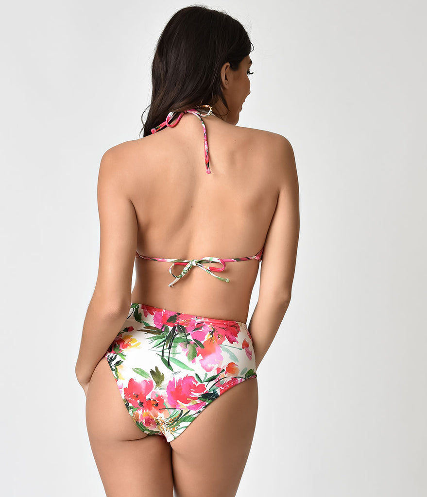 Unique Vintage White & Pink Summer Flower Laguna Halter Swim Top