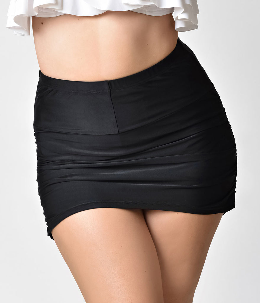 Unique Vintage Plus Size 1950s Black Calliope High Waist Swim Skirt