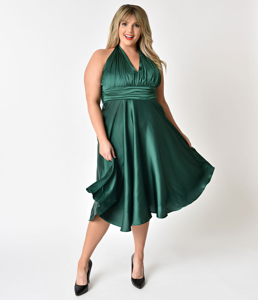 Unique Vintage Plus Size 1950s Green Satin Halter Hyannis  Swing Holiday Dress