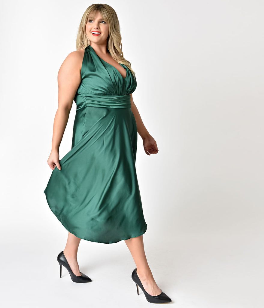 Unique Vintage Plus Size 1950s Emerald Green Satin Halter Hyannis Swing Dress