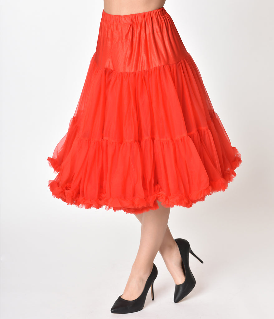 1950s Style Red Tea Length Ruffled Chiffon Crinoline