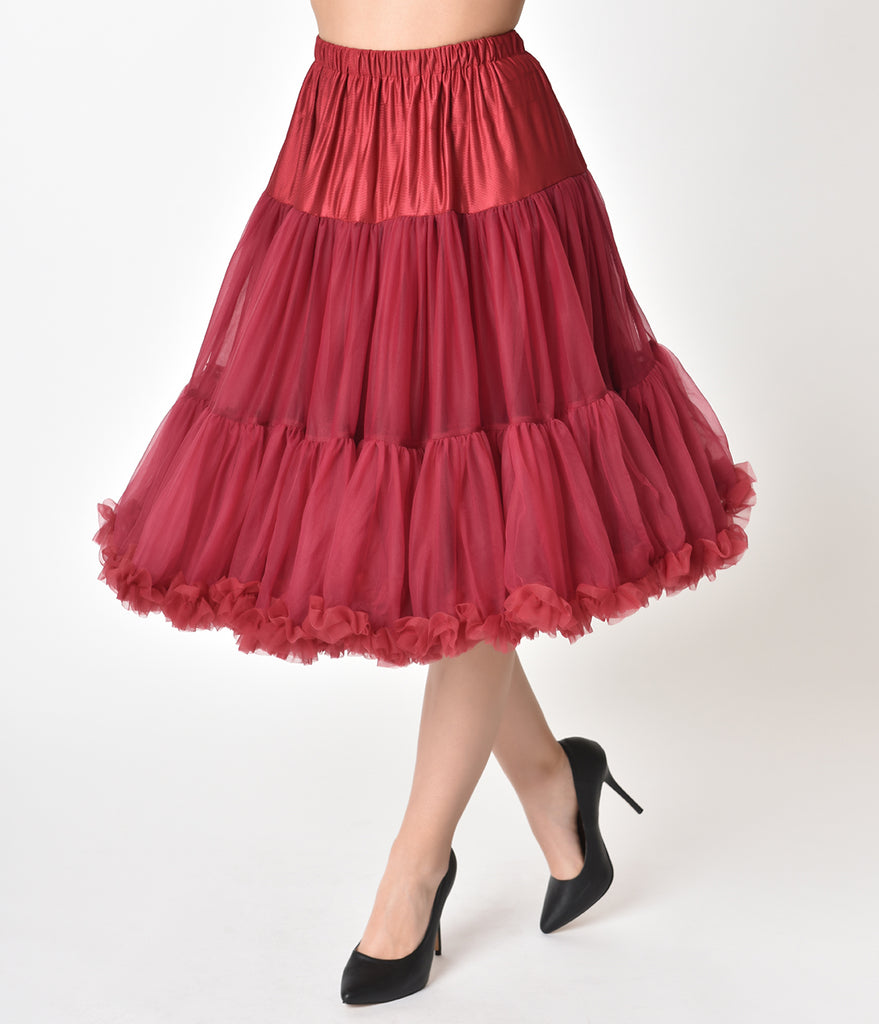 1950s Style Bordeaux Burgundy Tea Length Ruffled Chiffon Crinoline