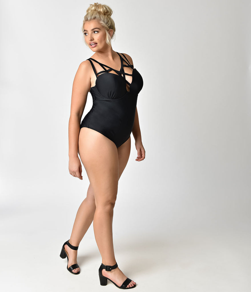 Plus Size Black Caged Sweetheart One Piece Swimsuit