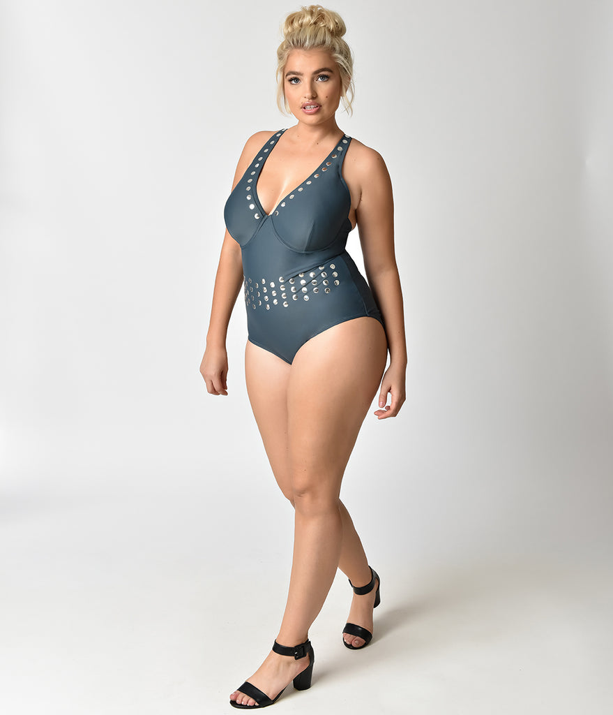 Plus Size Stormy Teal & Silver Studded One Piece Swimsuit